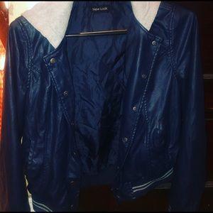Dark Blue jacket with grey hoodie attached.